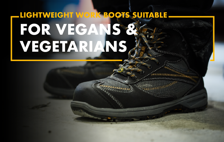 Lightweight vegan work boots suitable for vegans and vegetarians.